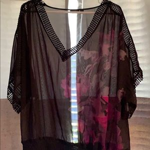 Sheer blouse with crochet detail